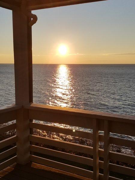 Beautiful sunrise view from main floor deck