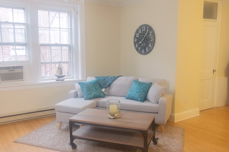 Newly repainted living room and bright with large classic windows