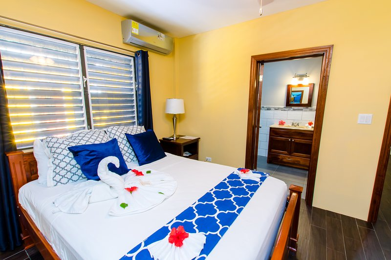 Bedroom with Queen-bed, Air Conditioner, 42' TV and Safe.