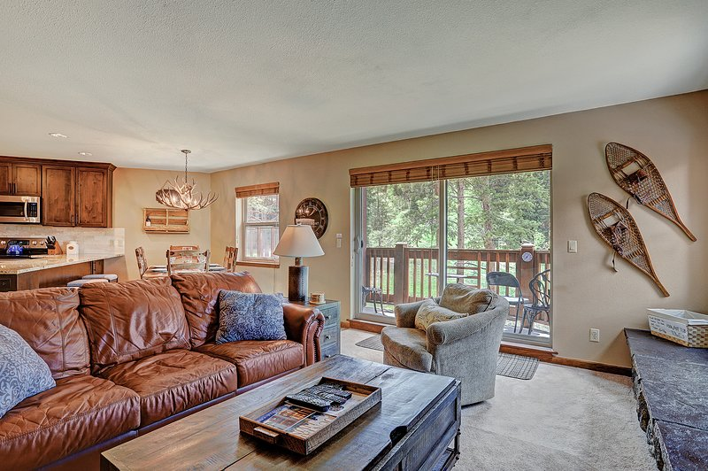 Cozy living room with walk out private porch