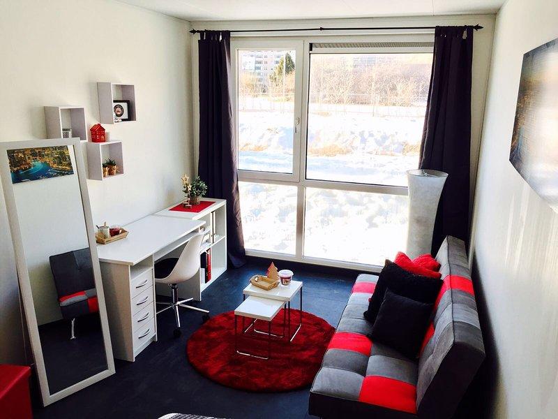Studio neuf à louer, superbe vue sur es châteaux, vacation rental in Grimisuat