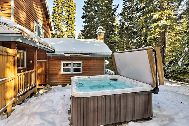 Grill out on the patio, then stay warm with a soak in the private hot tub!