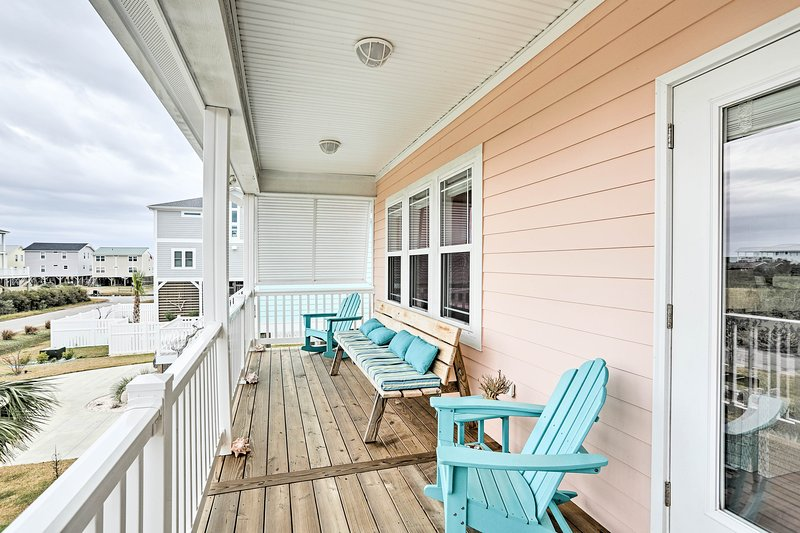 This vacation rental home is a short walk away from the beach!