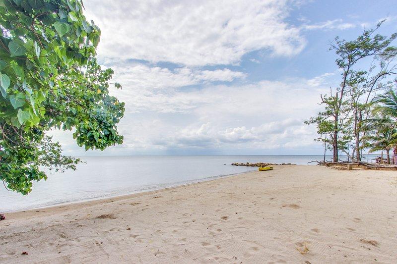 Oceanfront cabana w/ private beach, amazing sea view, hammock, partial AC & WiFi, vacation rental in Dangriga