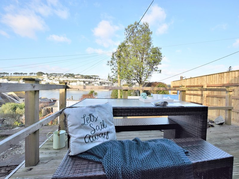 Views across the village over to Fowey from the seating area