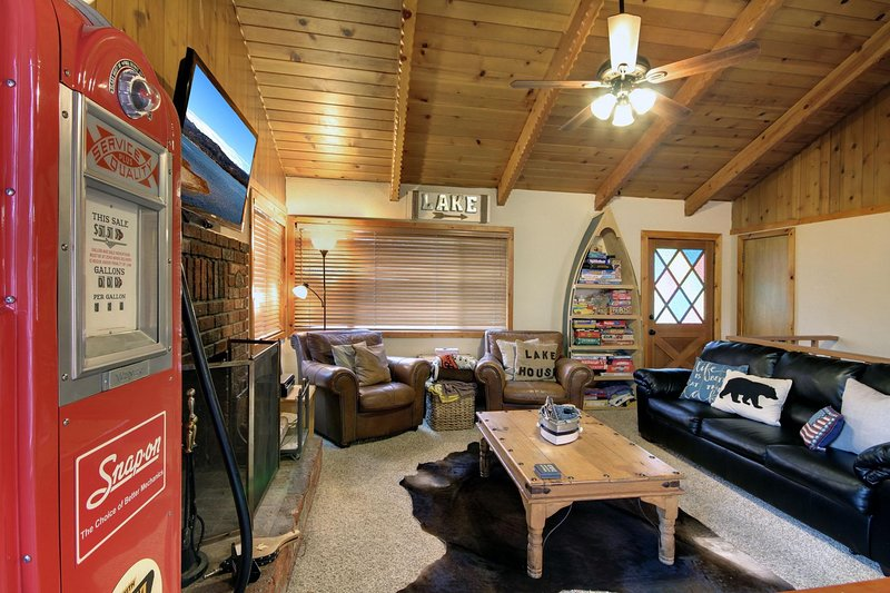 Vaulted ceilings in the family room creates and open feeling