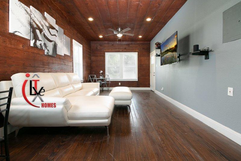 Living Room, Leather Couch, Star Wars,Desk,  4k TV