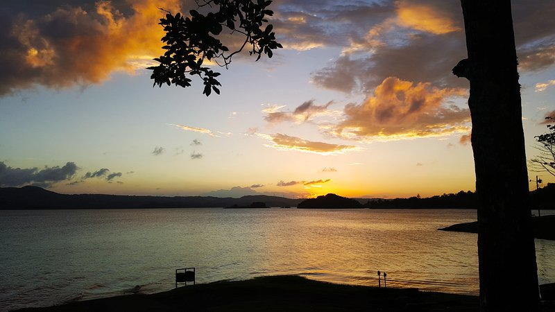 Just a 10 minute walk from Marita's, while sitting at Lake Arenal park view the gorgeous sunset