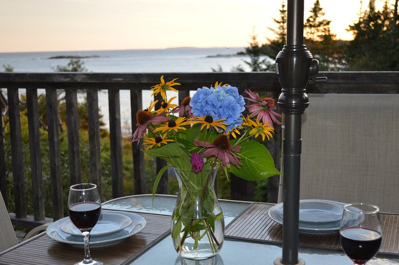 Private deck overlooking Indian Harbour, Paddy's Head Light and the ocean beyond