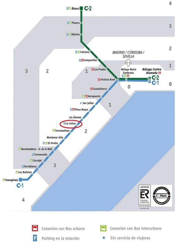Map of the suburban train
