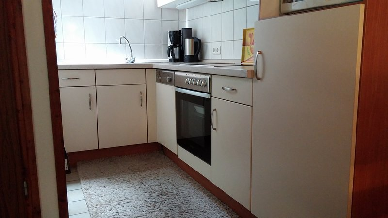 Fitted kitchen with dishwasher, fridge with freezer compartment, microwave, electric hob and oven.