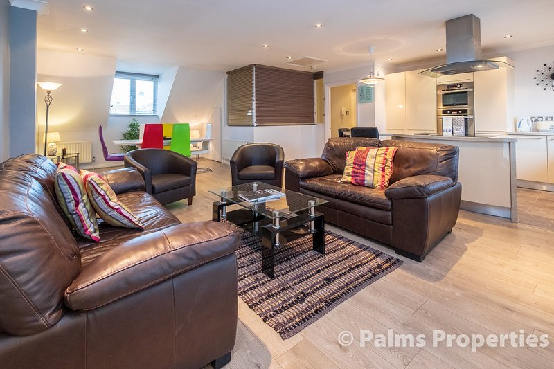 Spacious open plan lounge and kitchen