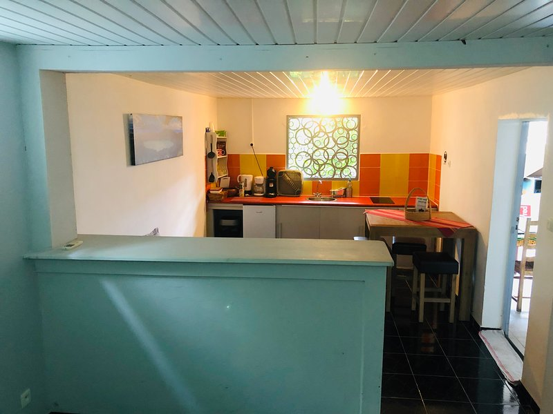 view of the kitchenette from the sleeping area