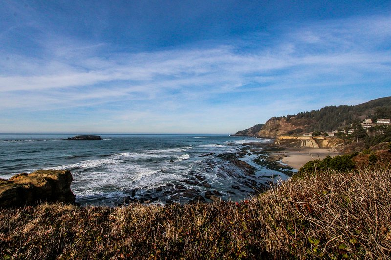 Oceanfront chalet w/ views of Pacific, great location - dogs welcome!, vacation rental in Otter Rock