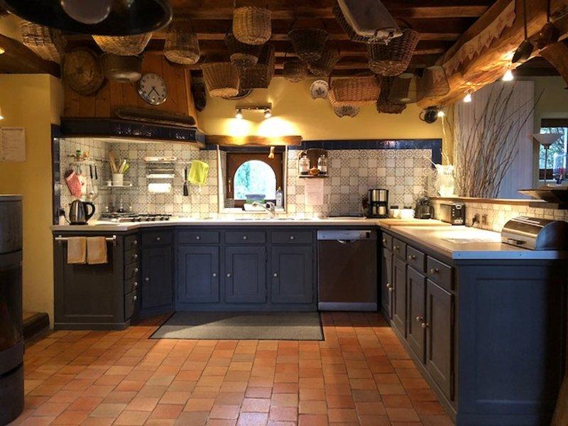 large open kitchen on living room + back kitchen