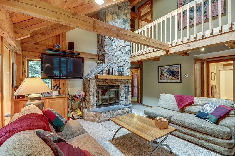 Walk to slopes from mountain lodge-style home w/room for the ...