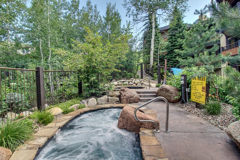 Woodsy ski-in/out condo w/two shared hot tubs, right next to the slopes!, location de vacances à Snowmass Village