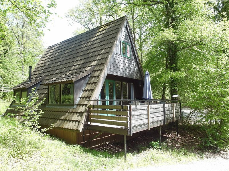 Nice chalet in the middle of forests, 30 minutes from Durbuy, swimming pool, wifi, tennis, super for kids!