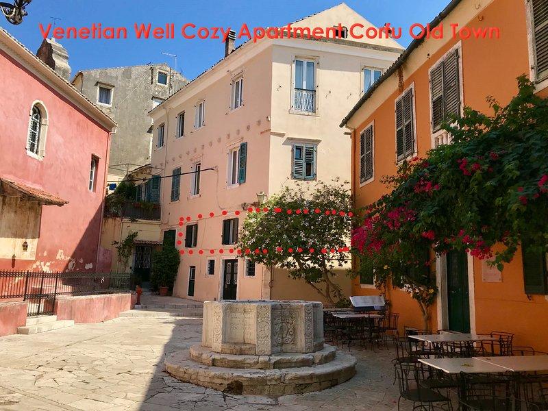 'Venetian Well Cozy Apartment Corfu Old Town' Overlooking the Venetian Well-Kremasti square!