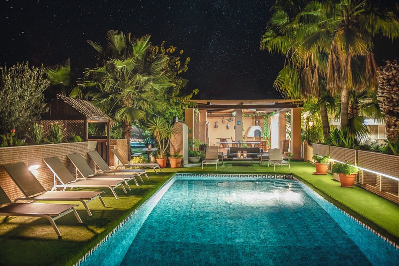 Stunning Villa Violet at night. Perfect time to relax and dip after a hot summer day.