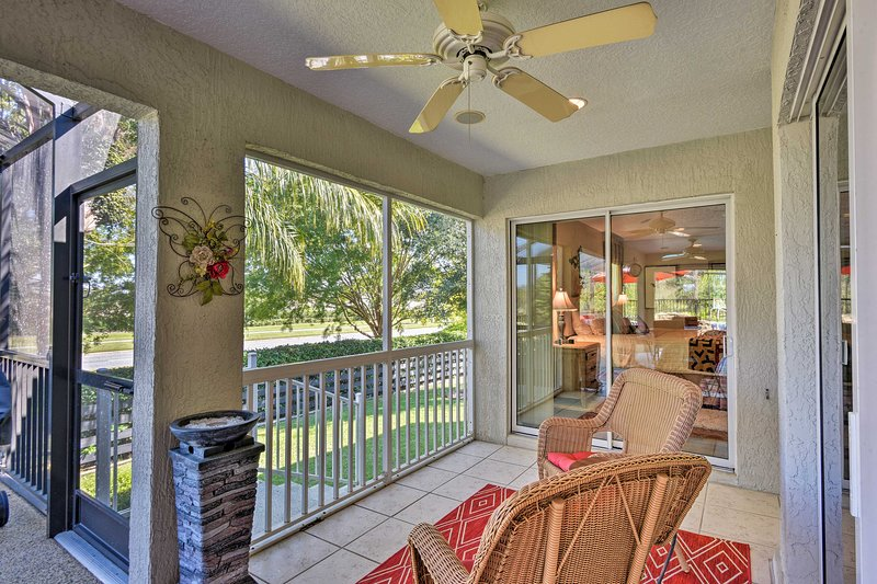 Enjoy this vacation rental's peaceful neighborhood and golf course views!