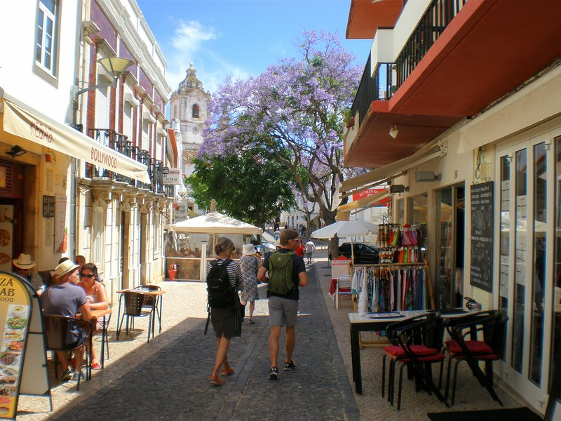 Narrow streets, cafes, shops, historic buildings in Lagos