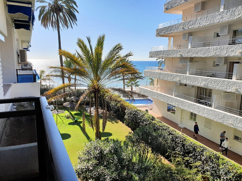 Views from the terrace to the sea and palm trees.