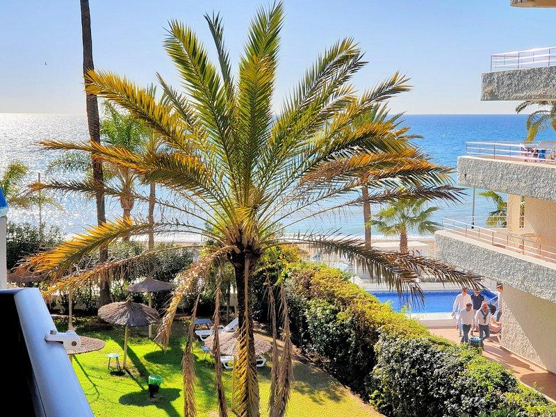 Peek through dates into the Mediterranean.