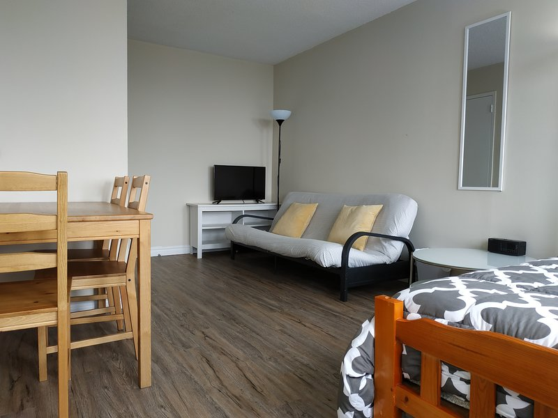 Living room furnished with a dining table, sofa, TV & a full bed!
