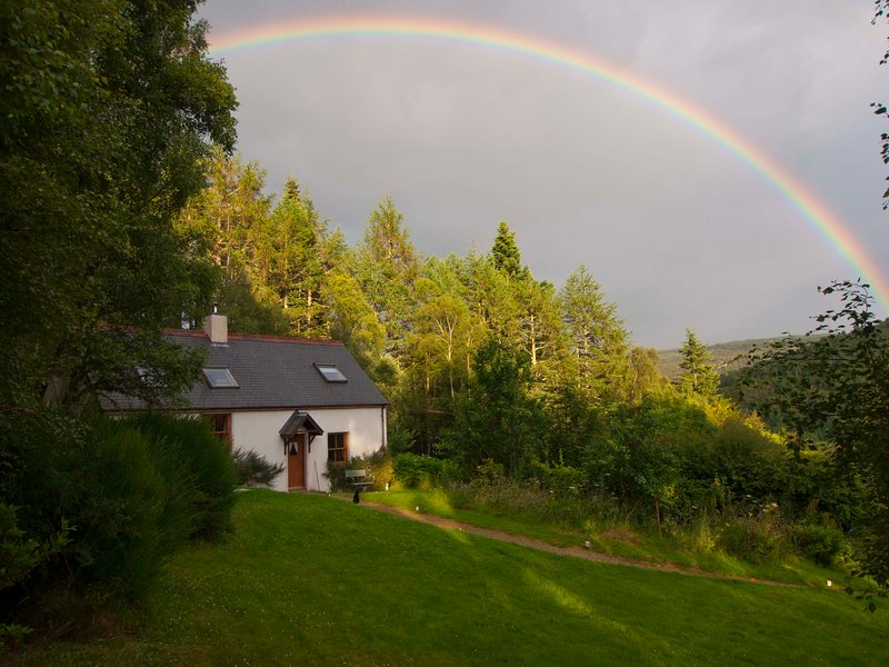 A rainbow over Fern Cottage after a heavy summer's downpour.