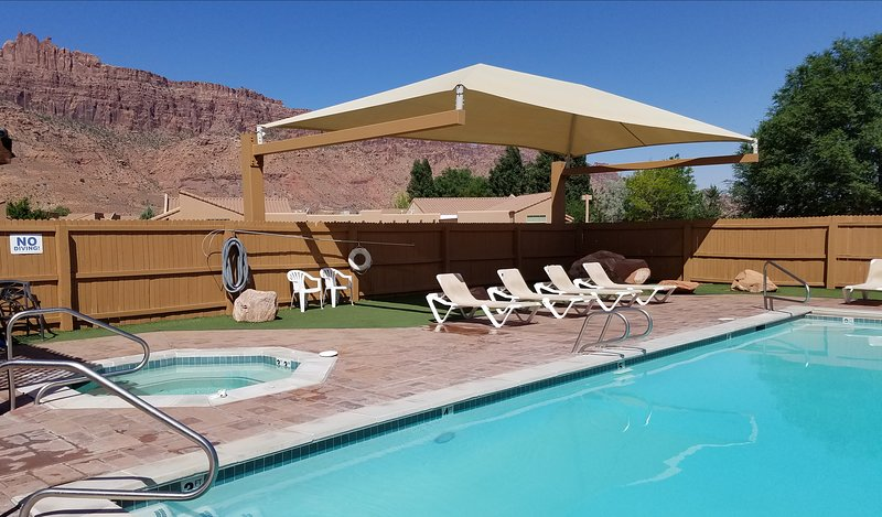 Our unit is the the closest to the outside heated pool and spa
