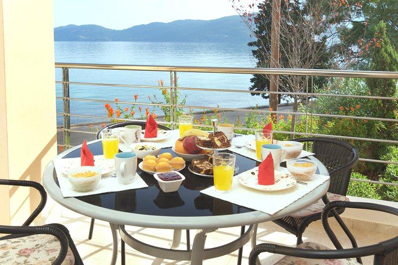 breakfast time in the balcony