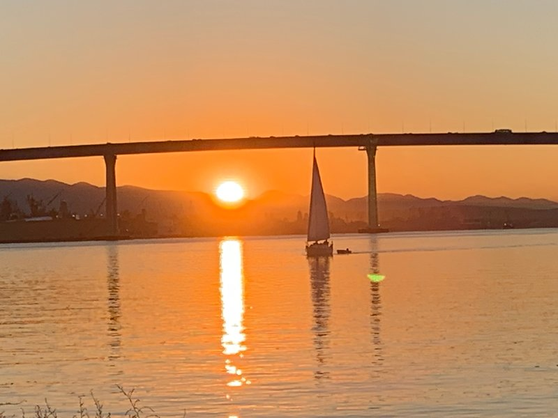 Coronado Bay Bridge at sunrise-- a 5 min walk from house