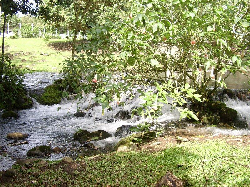 Río estacional que pasa por el pabellón cubierto de al lado.