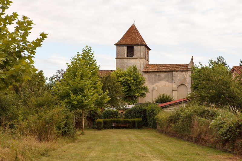Looking South to the medieval chrich of Hunting Lodge Le Logis.