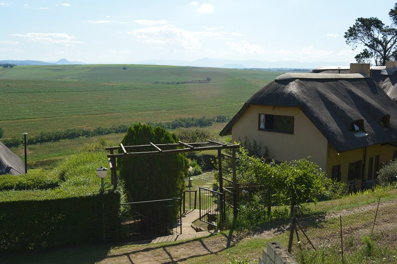 A view of the entrance to the guest lodge with views of the Drakensburg mountains and Kamberg