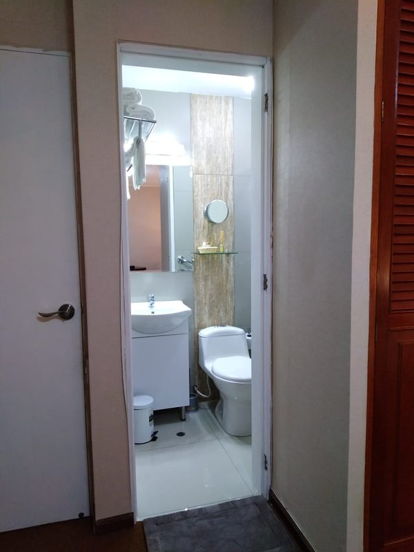 Bathroom with all you need / bathroom with everything you need.
