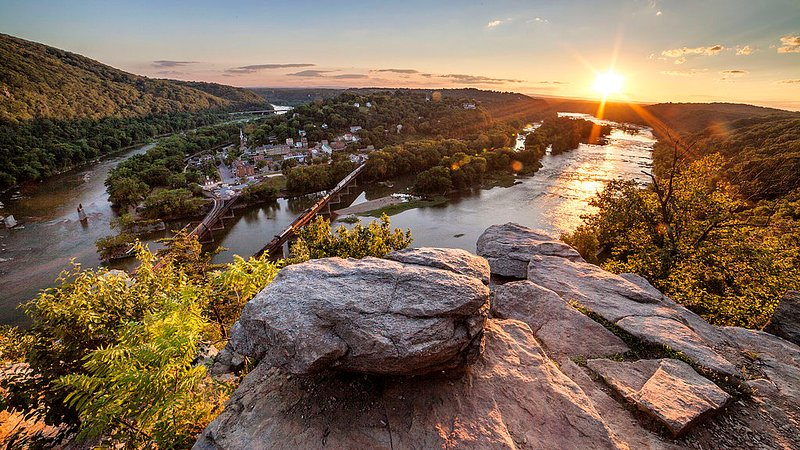 Bright Sun from Maryland Heights Overlooking Harpers Ferry!