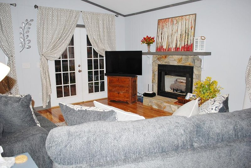 Living with fireplace and flatscreen smart TV