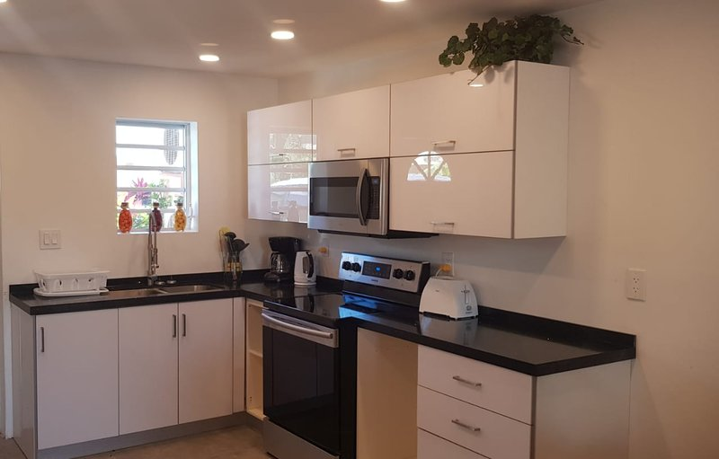 New open-plan kitchen with new appliances