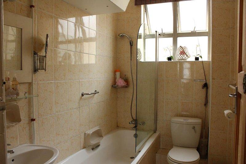 Ordentliches Badezimmer, Toilette und Waschbecken
