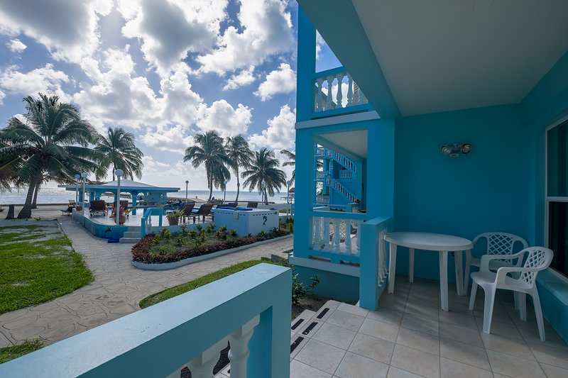 Gorgeous ocean view from ground floor porch! This apt is on 2 floors w/ another balcony on 2nd floor