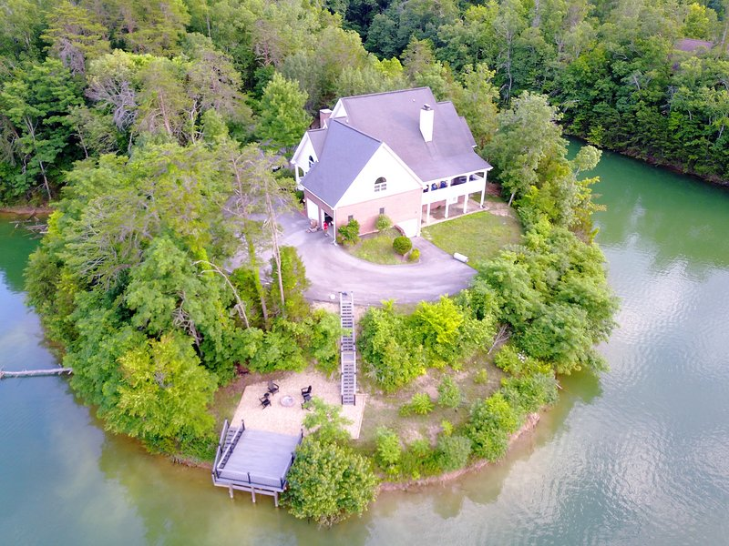 Aerial View of the Lake House and Boat Deck, Dock and Fire Pit