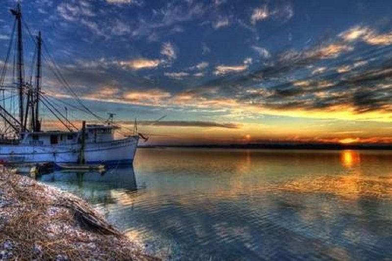 Realmente parece com isto na ilha ao pôr-do-sol! Tirada em Skull Creek