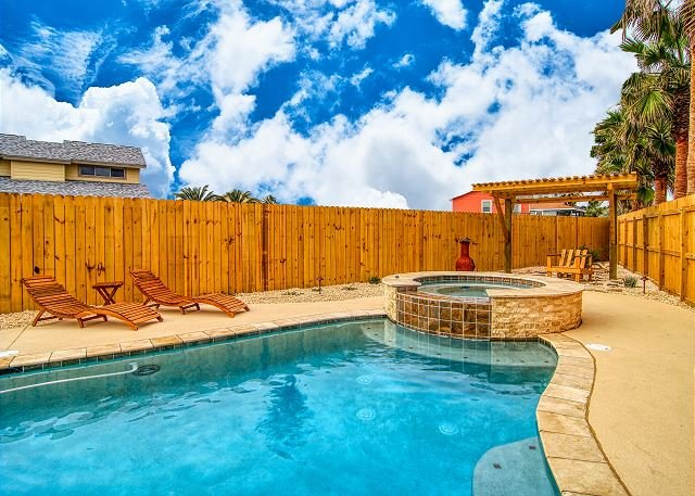 Private swimming pool and hot tub