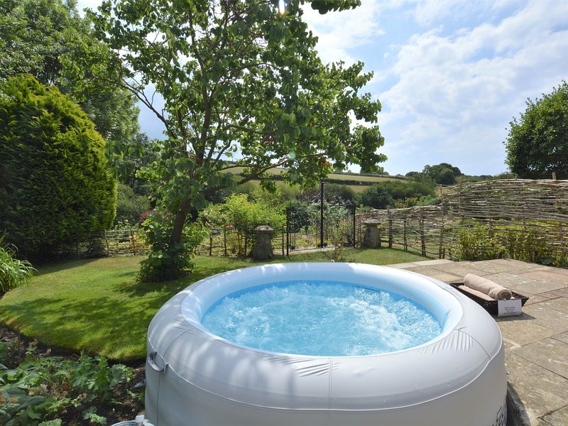 Views over the garden and beyond from the lay-z-spa hot tub