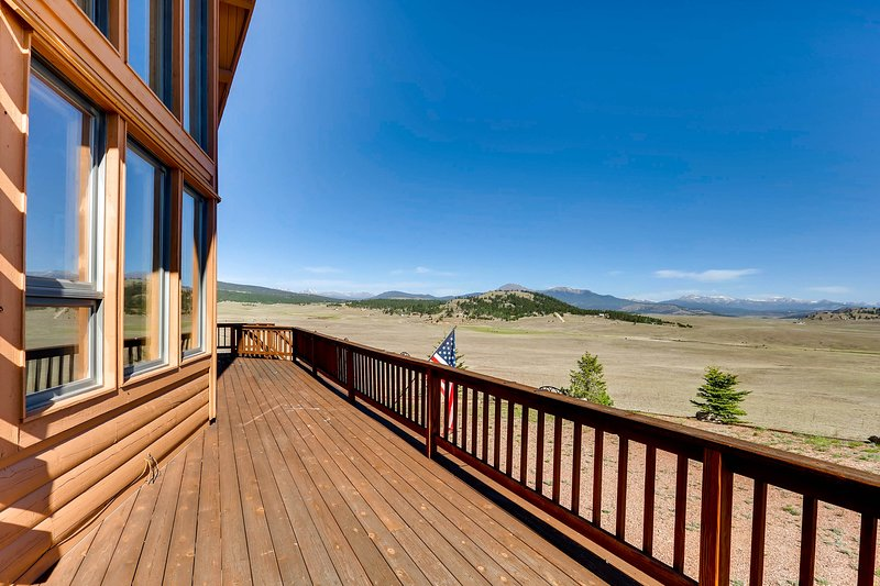 Mountains surround the home and the property is forested. It is an amazing place to explore.