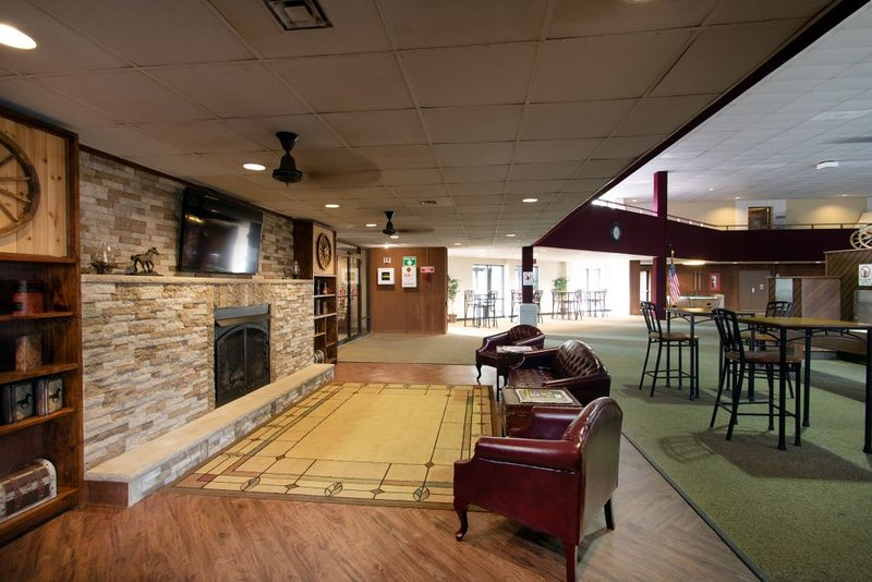 public area fireplace in pool room