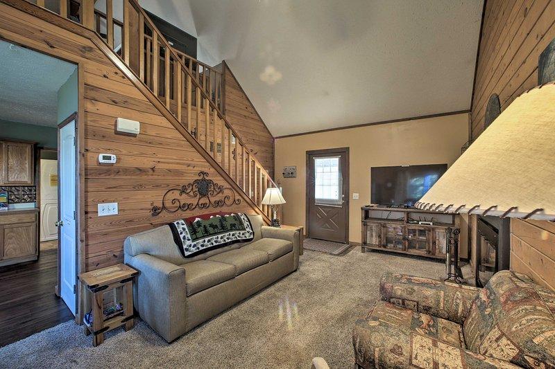 The high ceilings make the cabin feel spacious.