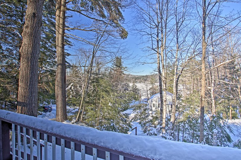 Enjoy views of Sawyer Lake, within walking distance, off your private deck.